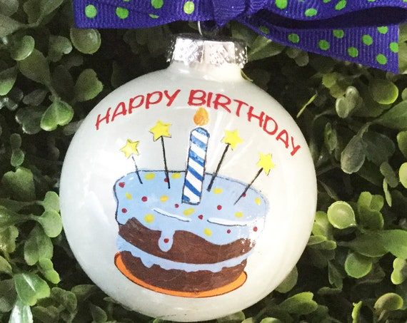 Personalized Happy Birthday Ornament - Birthday Cake Ornament