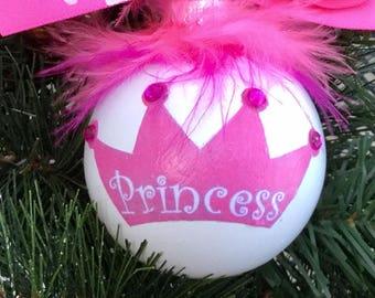 Princess Christmas Ornament - Personalized Princesss Crown Ornament