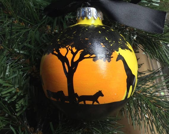 Personalized African Plains Animal Silhouette Glass Ornament