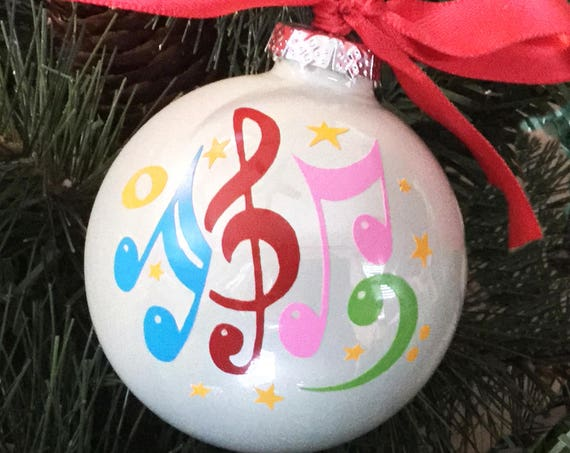 Personalized Musical Notes Ornament - Colorful Music Note Glass Ornament