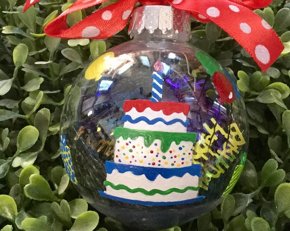 Personalized Hand Painted Birthday Cake Ornament