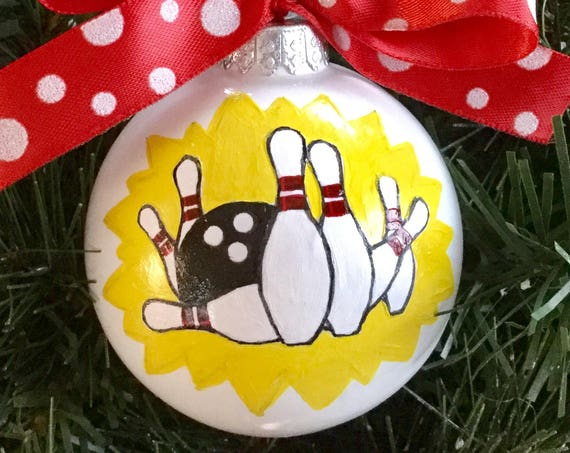 Personalized Hand Painted Bowling Ornament - Sports Ornament - Ten Pin Bowling Ornament