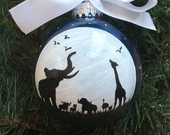 Personalized African Animal Silhouettes at Moonlight Glass Ornament