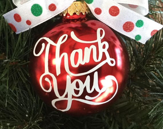 "Personalized ""Thank You"" Christmas Ornament - Thank You Gift"