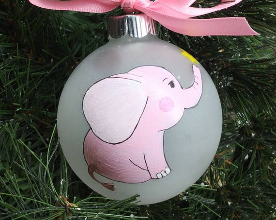 Personalized Hand Painted Baby Elephant Ornament for Girl or Boy -  New Baby Ornament - Baby Shower Gift - Baby's First Christmas