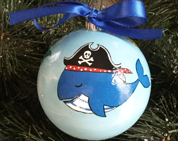 Personalized Hand Painted Pirate Sea Life Shatterproof Christmas Ornament