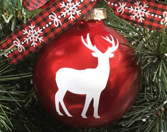 Reindeer Christmas Ornament - Personalized Reindeer Silhouette Christmas Ornament