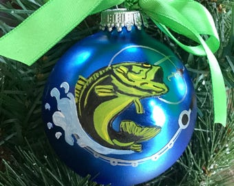 Personalized Hand Painted Fishing Ornament - Large Mouth Bass Ornament