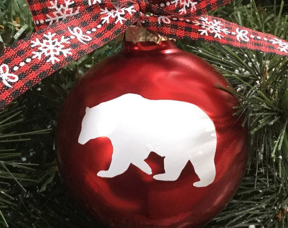 Bear or Fox Christmas Ornament - Personalized Bear or Fox Silhouette Christmas Ornament