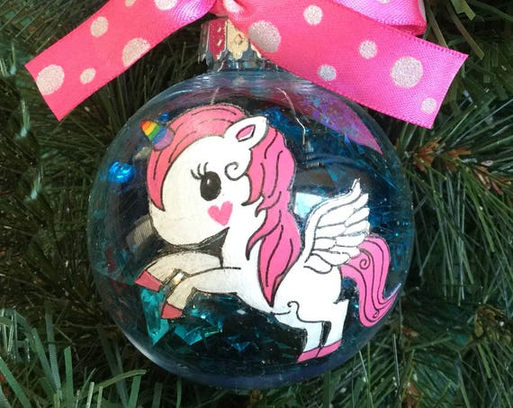 Personalized Hand Painted Unicorn Christmas Ornament