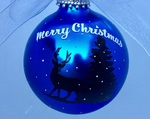 Reindeer Silhouette Christmas Ornament - Personalized Reindeer Ornament