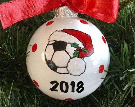 Personalized Hand Painted Sports Glass Ornaments - Soccer Ornament - Baseball Ornament - Softball Ornament - Volleyball Ornament