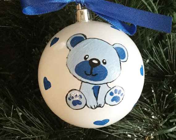 Newborn Baby Boy Bear Ornament - Personalized for Baby Birthday or Christmas - Hand Painted Shatterproof New Baby Gift, Baby Shower Gift
