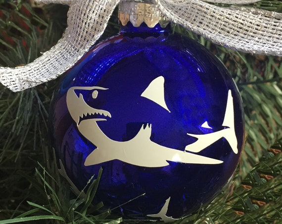 Personalized Vinyl Shark Christmas Ornament