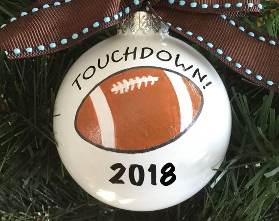Personalized Hand Painted Football Ornament - Sports Ornament