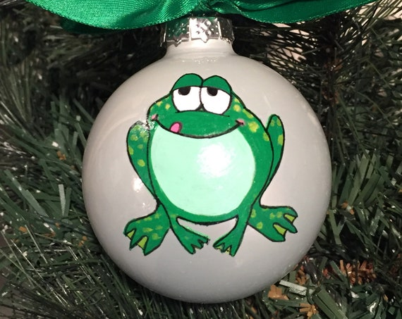 Personalized Hand Painted Frog Christmas Ornament