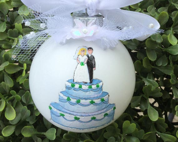 Personalized Hand Painted Wedding Ornament - Wedding Cake Ornament