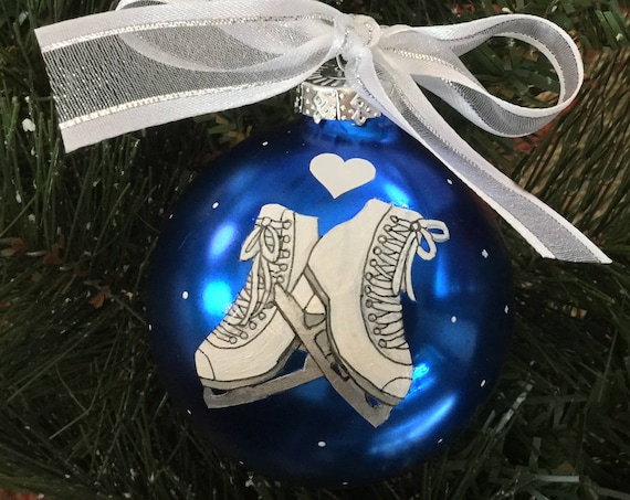 Personalized Ice Skating Glass Ornament - Hand Painted Ice Skating Ornament - Love Ice Skating Ornament