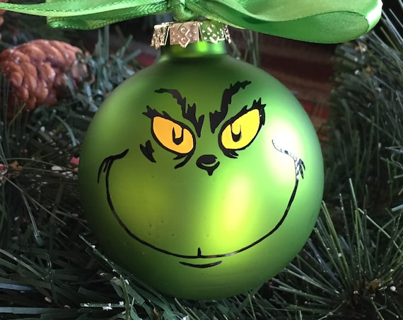 Personalized Grinch Face Christmas Ornament