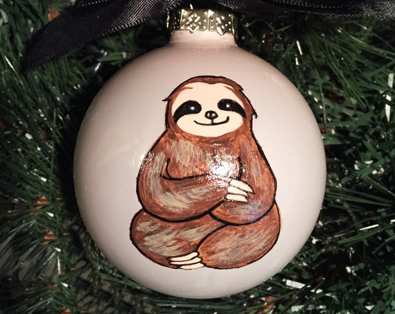 Personalized Hand Painted Sloth Christmas Ornament