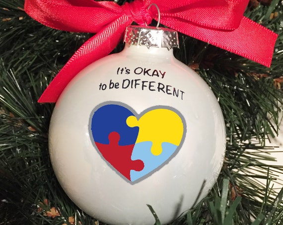 """Personalized """"It's OKAY to be DIFFERENT"""" Glass Ornament - Autism Awareness Glass Ornament"""
