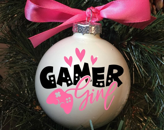 "Personalized ""Gamer Girl"" Ornament - Christmas Ornament for Girl Gamer - Video Game Ornament"