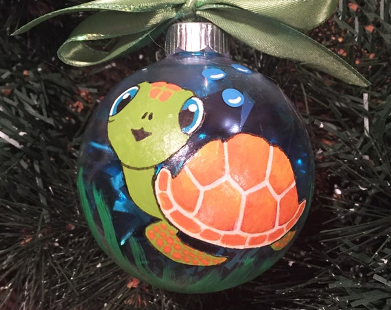 Personalized Hand Painted Sea Turtle Christmas Ornament