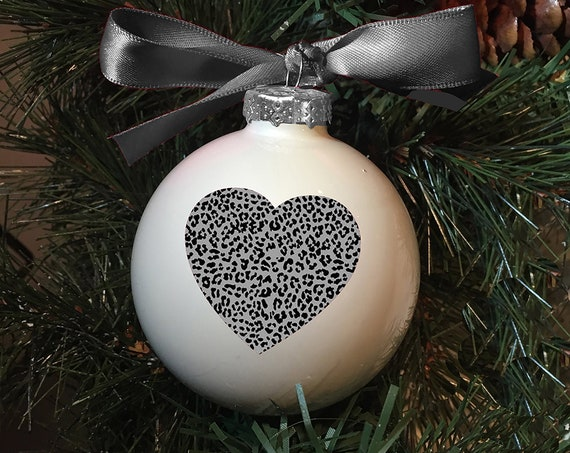Personalized Patterned Heart Christmas Ornament