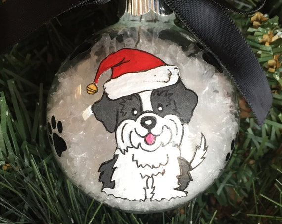 Personalized Hand Painted Shih Tzu Dog Christmas Ornament