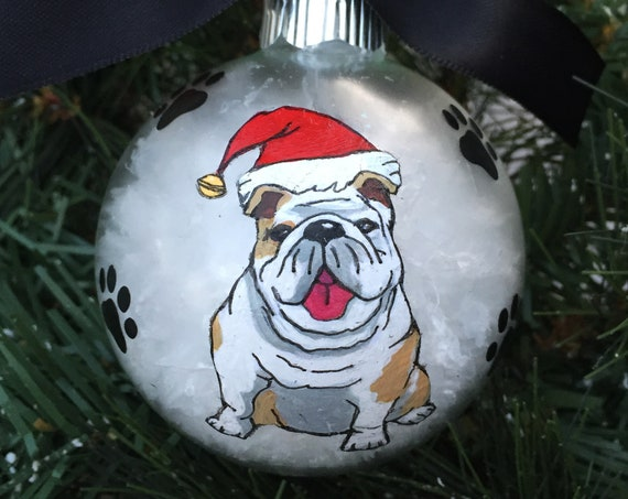 Personalized Hand Painted Bulldog Dog Christmas Ornament