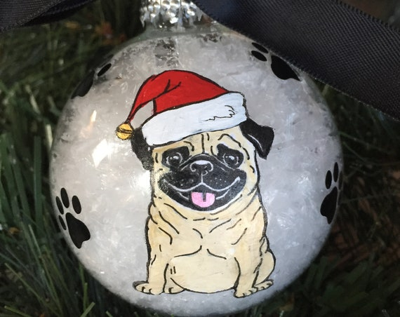 Personalized Hand Painted Pug Dog Christmas Ornament