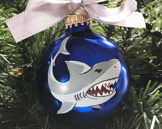 Personalized Hand Painted Shark Christmas Ornament