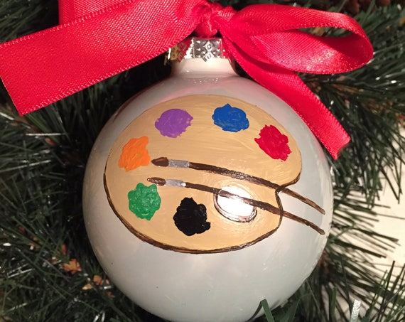 Personalized Hand Painted Artist Ornament - Christmas Ornament for Artist - Artist Pallet