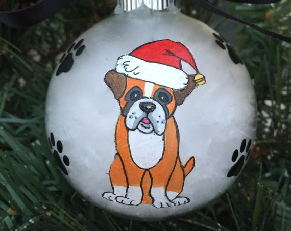 Personalized Hand Painted Boxer Dog Christmas Ornament