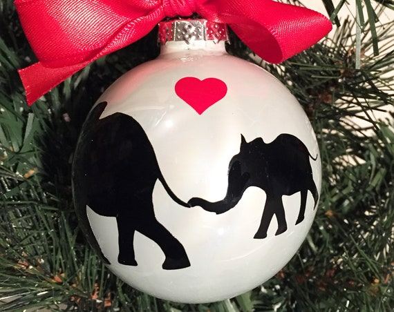 Personalized Mother and Baby Elephant Silhouette Glass Ornament