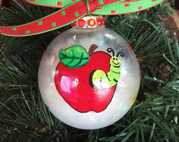 Personalized Hand Painted Teacher Christmas Ornament