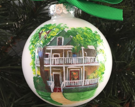 Hand Painted Custom Home Ornament - New Home Ornament - Realtor Closing Gift