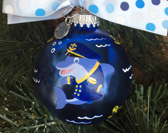 Personalized Hand Painted Dolphin Sailor Christmas Ornament