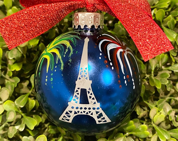 Personalized  Eiffel Tower with Fireworks Glass Ornament - Paris in the Summer Ornament