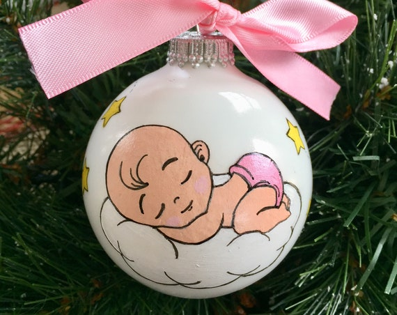 Personalized Baby Sleeping on a Cloud Ornament for Girl or Boy -  New Baby Ornament - Baby Shower Gift - Baby's First Christmas