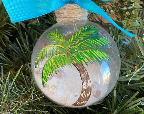 Personalized Hand Painted Palm Tree Ornament - Sand and Seashell Ornament - Summer Ornament