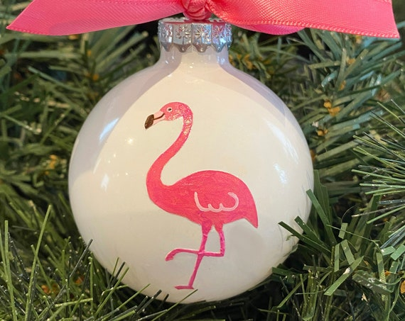 Personalized Hand Painted Pink Flamingo Christmas Ornament