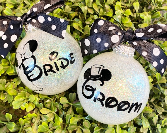 Personalized Glass Wedding Ornament - Wedding Gift - Disney Inspired Wedding Ornaments