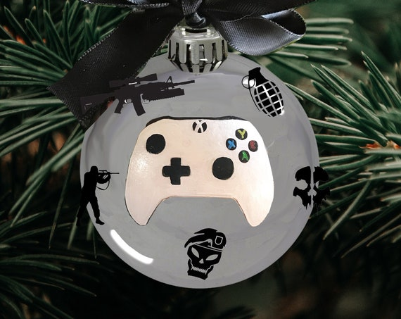 Personalized Game Controller Christmas Ornament - Christmas Ornament for Gamer - White Xbox One Controller Ornament
