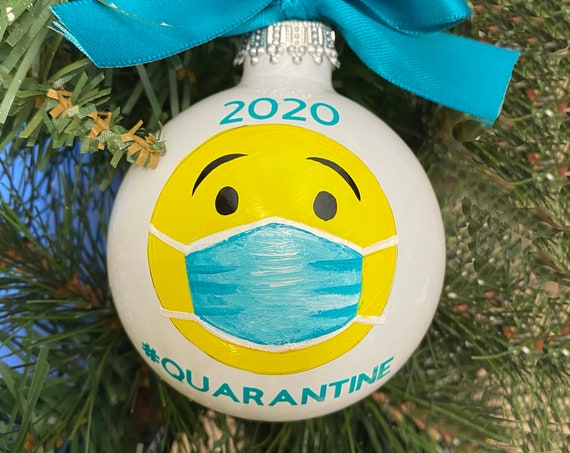 Personalized 2020 Christmas Ornament - 2020 Emoji #QUARANTINE  - 2020 Quarantine Christmas Ornament - Emoji Wearing a Face Mask Ornament