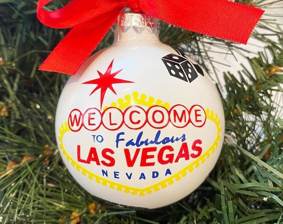 Personalized Las Vegas Glass Ornament