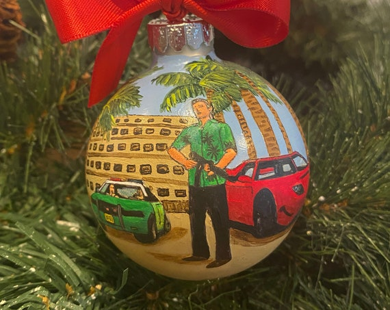 Personalized Hand Painted GTA Inspired Ornament - Video Game Ornament - Gaming Ornament