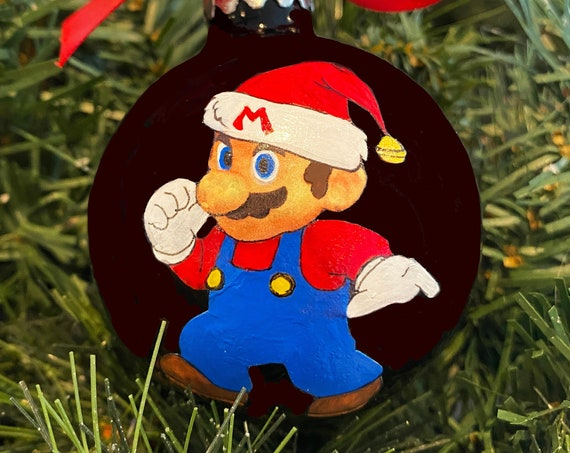 Personalized Hand Painted Mario Christmas Ornament - Video Game Ornament