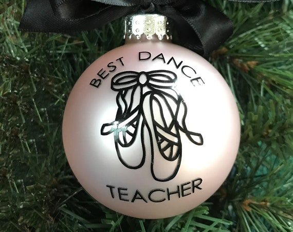 "Personalized ""Best Dance Teacher"" Christmas Ornament - Ballet Slipper Ornament"