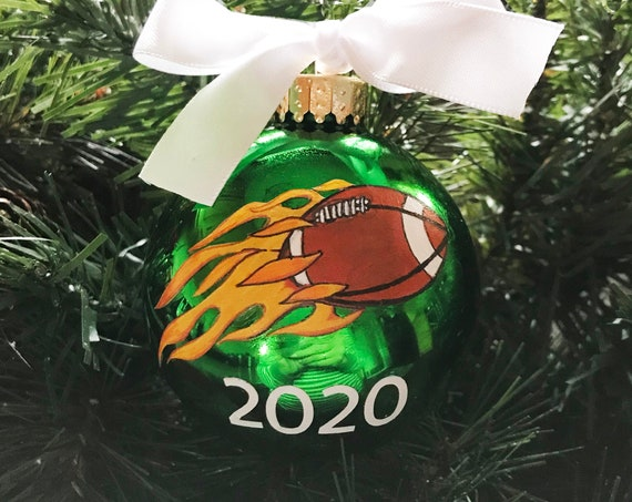 Personalized Hand Painted Green Football Ornament - Sports Ornament - Football with Flames Ornament